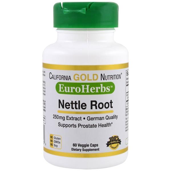 Экстракт корня крапивы, EuroHerbs, 250мг, 60 растительных капсул