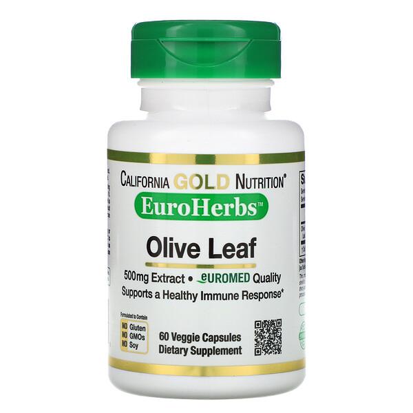 Экстракт листьев оливы, EuroHerbs, европейское качество, 500 мг, 60 растительных капсул