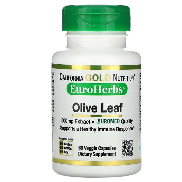 California Gold Nutrition, EuroHerbs, экстракт листьев оливкового дерева, европейское качество, 500мг, 60растительных капсул