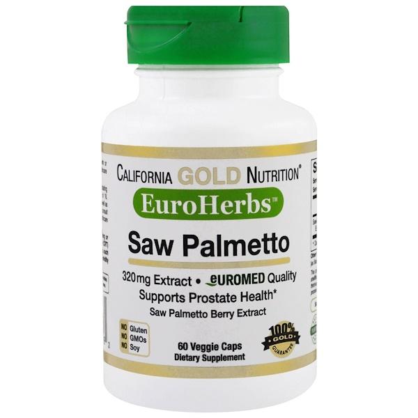 California Gold Nutrition, Экстракт пальмы сереноа, EuroHerbs, европейское качество, 320 мг, 60 растительных капсул (Discontinued Item)