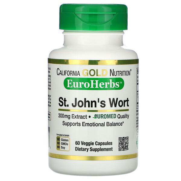 California Gold Nutrition, EuroHerbs, экстракт зверобоя, европейское качество, 300мг, 60растительных капсул