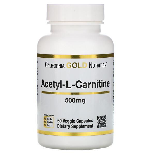 California Gold Nutrition, SPORT, Ацетил-L-карнитин, 500 мг, 60 растительных капсул