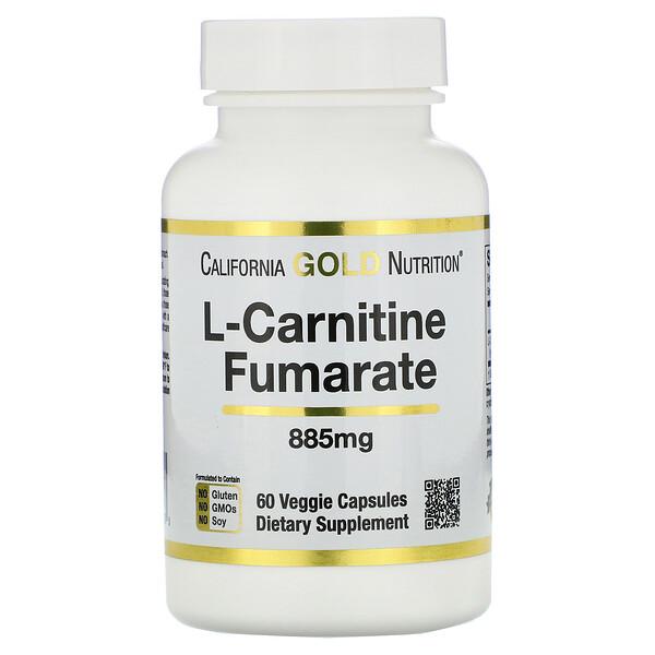 фумарат L-карнитина, поставляется из Европы, Alfasigma, 885 мг, 60 растительных капсул