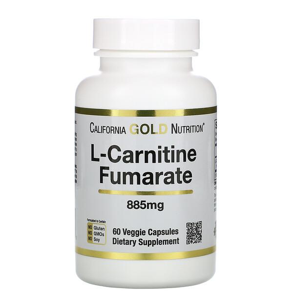 California Gold Nutrition, Alfasigma, L-карнитин фумарат, из Европы, 885 мг, 60 растительных капсул