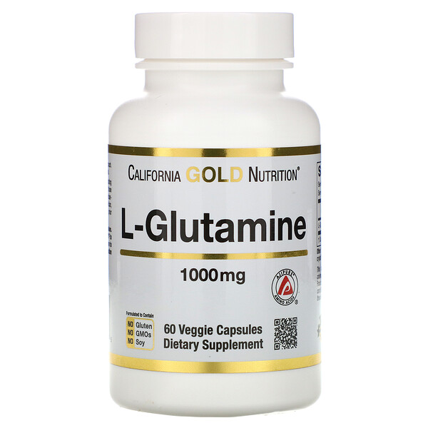 California Gold Nutrition, SPORT, L-глютамин, 1000мг, 60растительных капсул