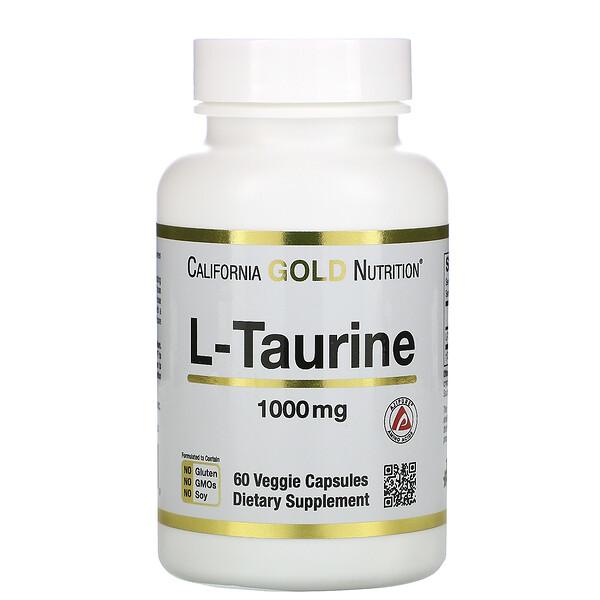 California Gold Nutrition, L-таурин, 1000мг, 60растительных капсул