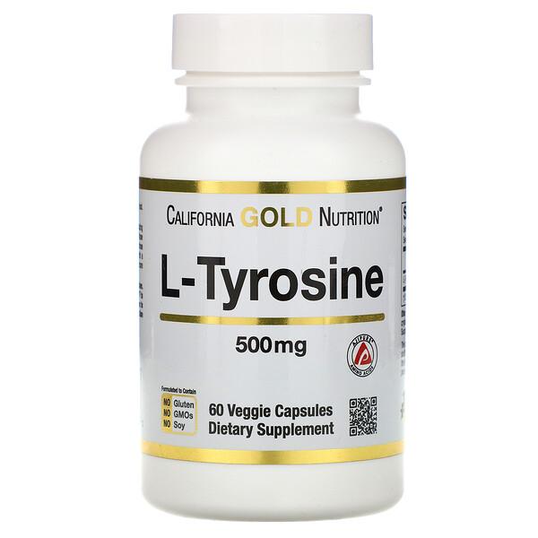 L-тирозин, AjiPure, 500 мг, 60 растительных капсул