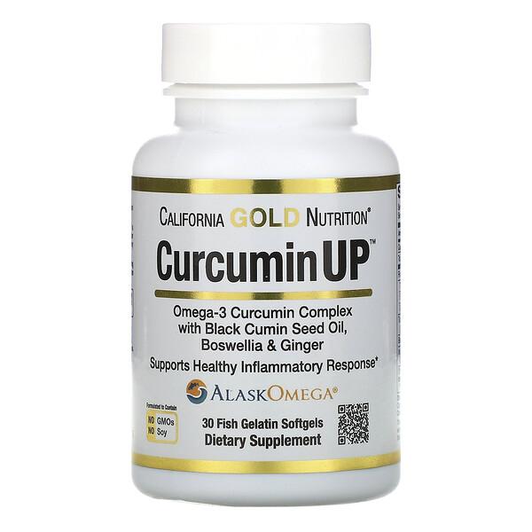 California Gold Nutrition, CurcuminUP, комплекс куркумина и омега-3, поддержка при воспалениях, 30рыбно-желатиновых капсул