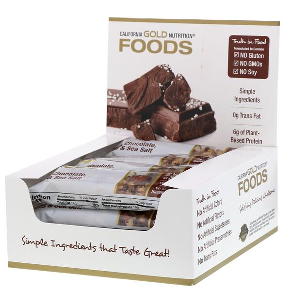 Foods, батончики с черным шоколадом, орехами и морской солью, 12шт., 40г (1,4унции) каждый