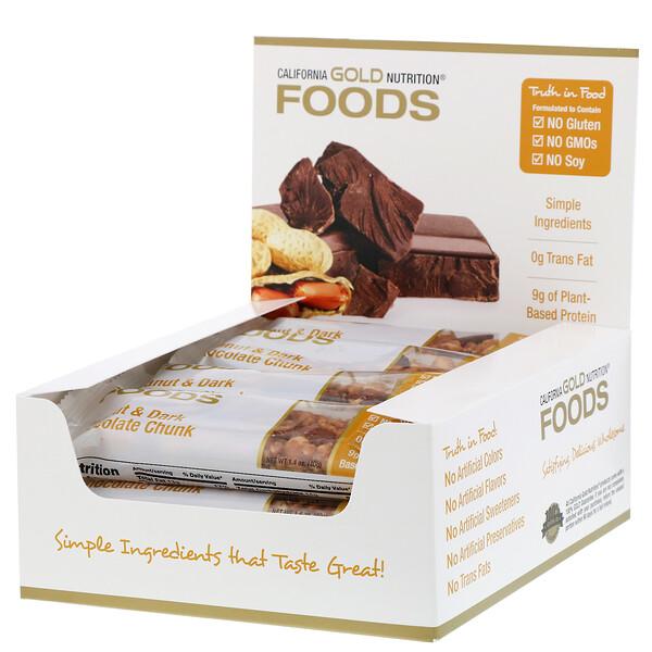 California Gold Nutrition, Foods, батончики с арахисом и кусочками черного шоколада, 12штук, 40г (1,4 унции) каждый
