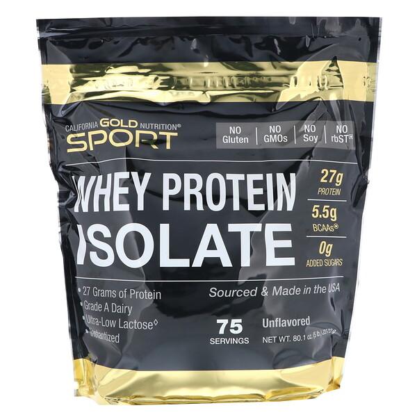 SPORT, изолят сывороточного протеина, без ароматизаторов, 90% протеина, быстрое всасывание, легко усваивается, из молока класса А, полученного от одного производителя в штате Висконсин, США, 75 порций, 5 фунтов (2270 г)