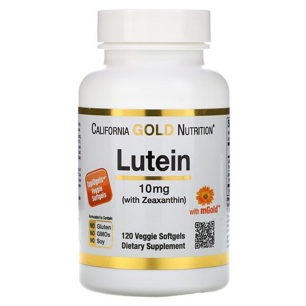 California Gold Nutrition, Лютеин с зеаксантином, 10 мг, 120 растительных капсул
