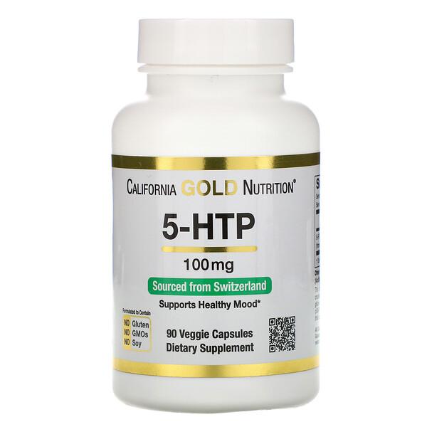 5-гидрокситриптофан, поддержка хорошего самочувствия, экстракт семян гриффонии простолистной из Швейцарии, 100мг, 90растительных капсул