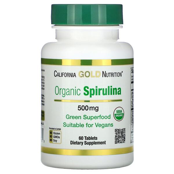 органическая спирулина, сертификат USDA Organic, 500мг, 60таблеток