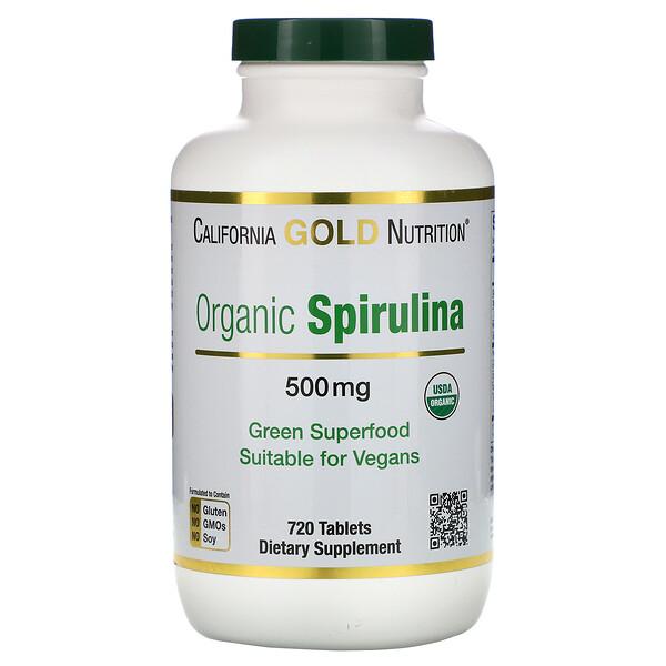 California Gold Nutrition, Органическая спирулина, сертифицированная Министерством сельского хозяйства США, 500 мг, 720 таблеток
