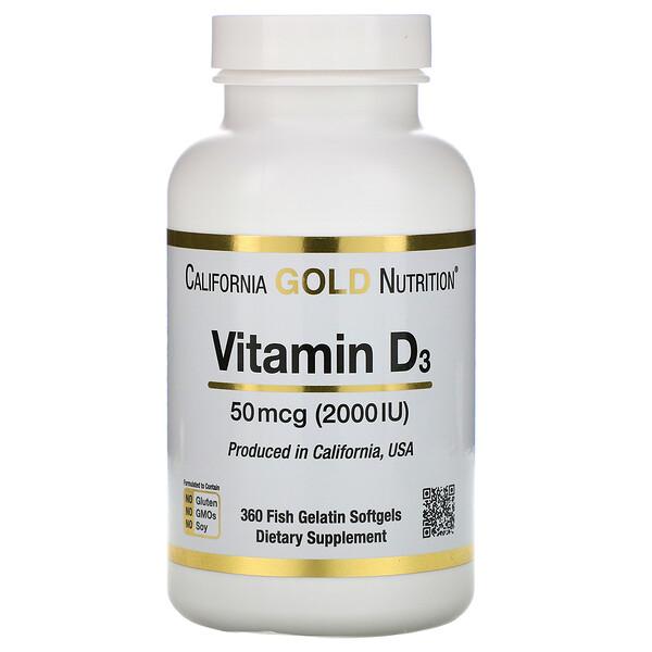 California Gold Nutrition, Витамин D3, 50мкг (2000МЕ), 360мягких капсул из рыбного желатина