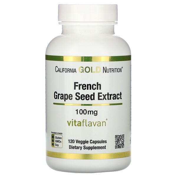 California Gold Nutrition, VitaFlavan, экстракт косточек французского винограда, полифенольный антиоксидант, 100мг, 120растительных капсул