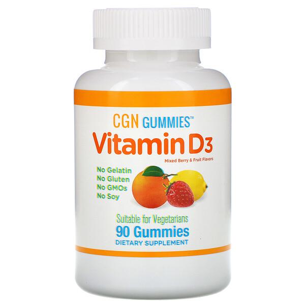 California Gold Nutrition, Жевательные таблетки с витаминомD3, без желатина и глютена, ягодно-фруктовое ассорти, 50мкг (2000МЕ в 1порции), 90жевательных таблеток