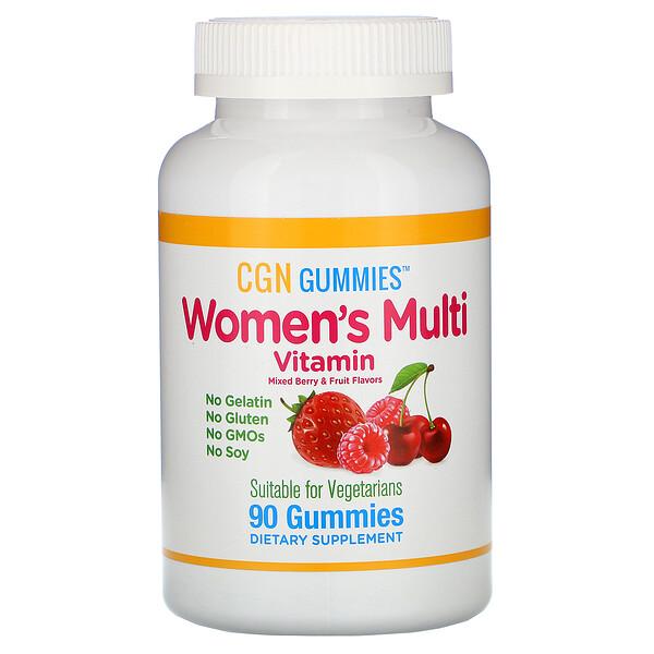 California Gold Nutrition, Women's Multi Vitamin Gummies, No Gelatin, No Gluten, Mixed Berry and Fruit Flavor, 90 Gummies