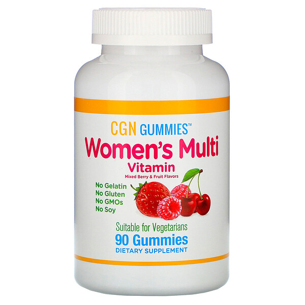 California Gold Nutrition, Women's Multi Vitamin Gummies, No Gelatin, No Gluten, Mixed Berry and Fruit Flavor, 90 Gummies