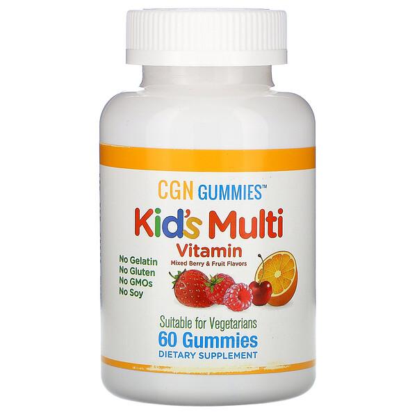 California Gold Nutrition, Жевательные пастилки с поливитаминами для детей, без желатина, без глютена, со вкусом органических ягод и фруктов, 60 жевательных пастилок