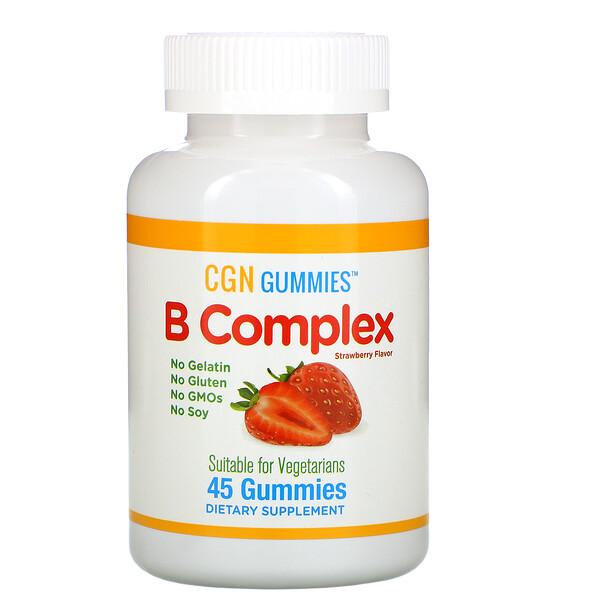 California Gold Nutrition, Жевательные таблетки с комплексом витаминов группы B, без желатина и глютена, натуральный клубничный вкус, 45жевательных таблеток