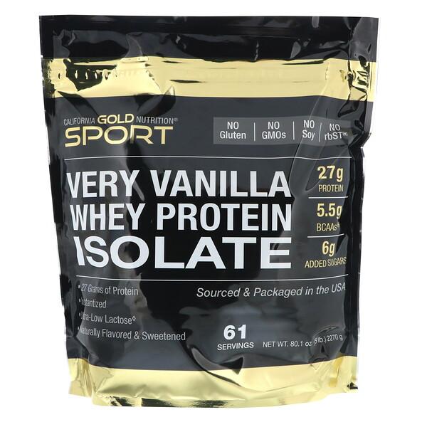 Изолят сывороточного протеина с ванильным вкусом, 2 270г (5 фунтов)