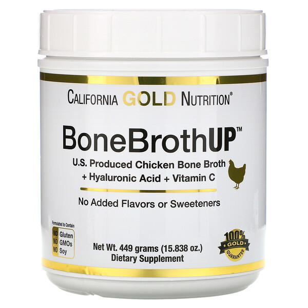 California Gold Nutrition, Протеин Up из куриного костного бульона, здоровье кожи, волос и ногтей, с гиалуроновой кислотой и витамином C, 15,838 унций (449 г)