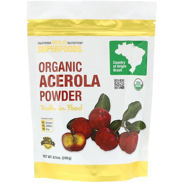 California Gold Nutrition, Superfoods, порошок органической ацеролы, 8,5 унции (240 г) (Discontinued Item)