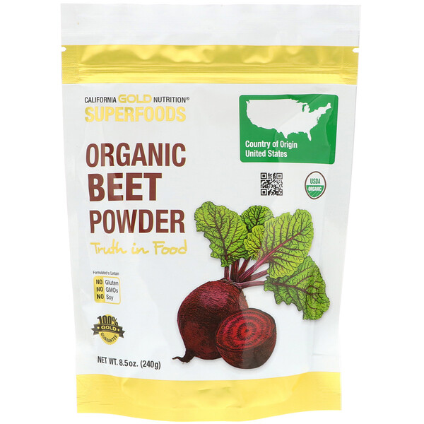California Gold Nutrition, Superfoods, органический порошок из свеклы, 240г (8,5унции)