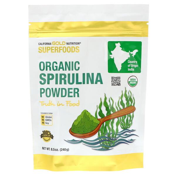 Superfoods, органический порошок спирулины, 240г (8,5унции)