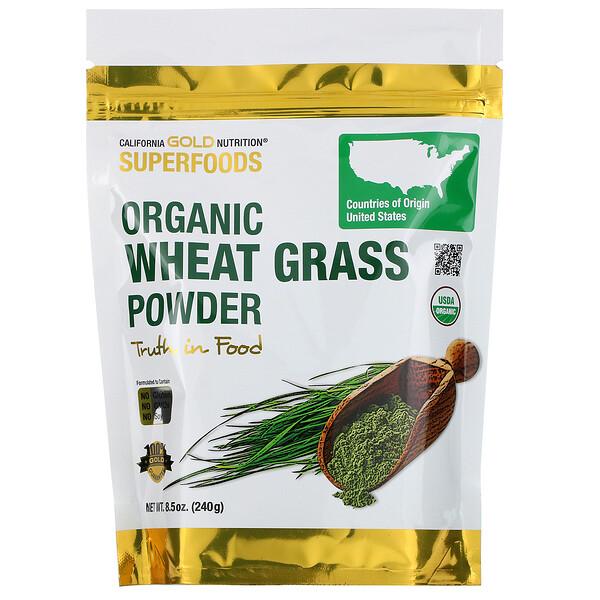 California Gold Nutrition, Superfoods, органический порошок ростков пшеницы, 8,5 унции (240 г)