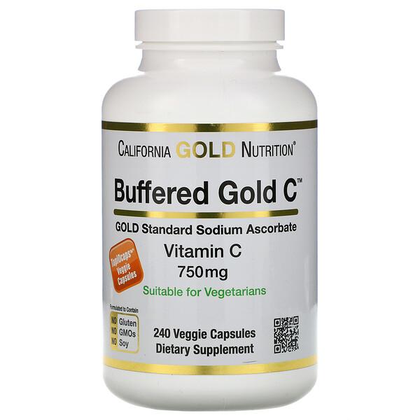California Gold Nutrition, Буферизованный витаминC в капсулах, 750мг, 240растительных капсул