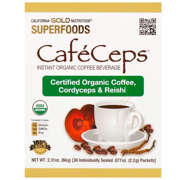 CafeCeps, органический растворимый кофе с кордицепсом и грибами рейши, 30 пакетиков весом 2,2 г (0,077 унции) каждый