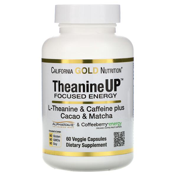 TheanineUP, сфокусированная энергия, L-теанин и кофеин, 60растительных капсул