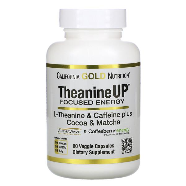 California Gold Nutrition, TheanineUP, сфокусированная энергия, L-теанин и кофеин, 60растительных капсул