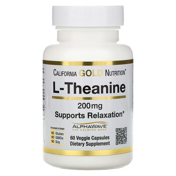AlphaWave, L-теанин, поддерживает расслабление и спокойную концентрация, 200мг, 60растительных капсул
