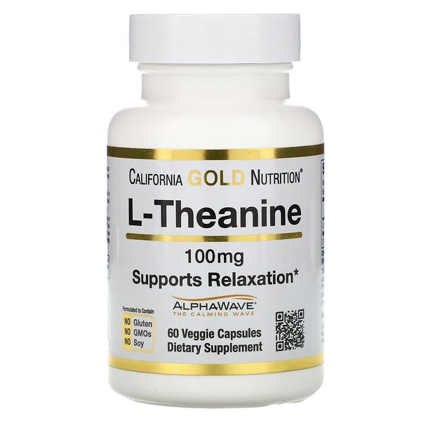 L-теанин, AlphaWave, поддержка расслабления, успокоение, 100 мг, 60 растительных капсул