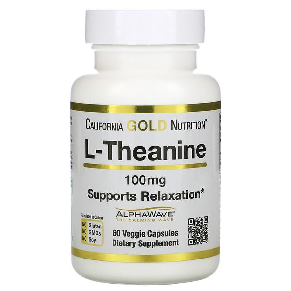 California Gold Nutrition, AlphaWave, L-теанин, поддерживает расслабление и спокойную концентрацию, 100мг, 60растительных капсул