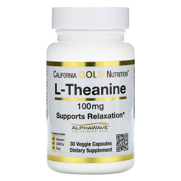 L-теанин, AlphaWave, поддержка расслабления, успокоение, 100 мг, 30 растительных капсул