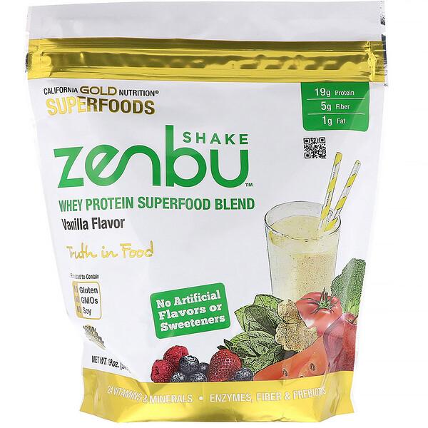 California Gold Nutrition, Zenbu Shake, смесь сывороточного белкового суперфуда, вкус ванили, 540г (Discontinued Item)
