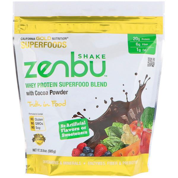 California Gold Nutrition, Zenbu Shake, смесь сывороточного протеина из суперпродуктов с какао-порошком, 1,3 фунта (585 г) (Discontinued Item)