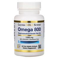 California Gold Nutrition, Omega 800 от Madre Labs, рыбий жир фармацевтической категории, 80% ЭПК/ДГК, в форме триглицеридов, 1000мг, 30мягких капсул с рыбным желатином