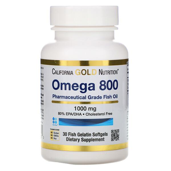 Omega 800 от Madre Labs, рыбий жир фармацевтической категории, 80% ЭПК/ДГК, в форме триглицеридов, 1000мг, 30мягких капсул с рыбным желатином