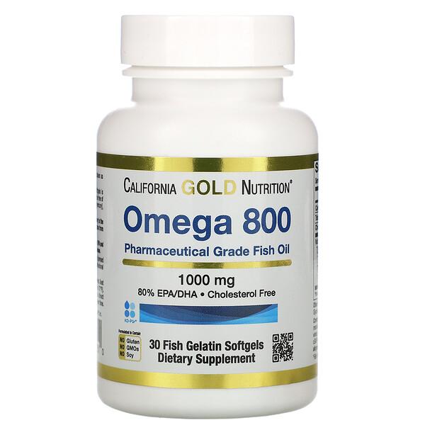 California Gold Nutrition, Madre Labs, омега800, рыбий жир фармацевтической степени чистоты, 80% ЭПК/ДГК, в форме триглицеридов, 1000мг, 30рыбно-желатиновых капсул