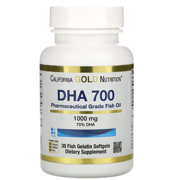 DHA 700, рыбий жир фармацевтической степени чистоты, 1000 мг, 30рыбно-желатиновых капсул