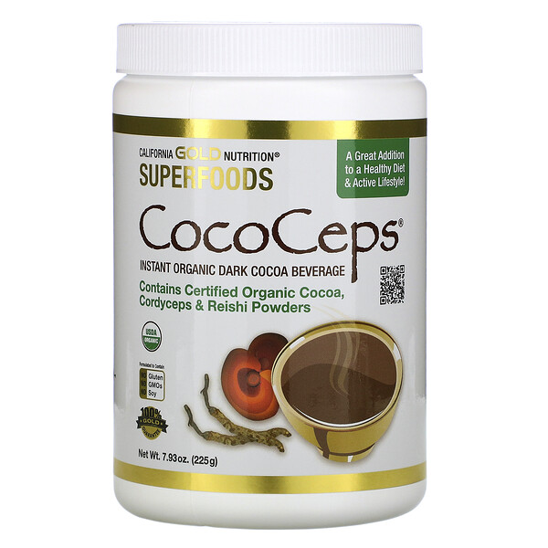 California Gold Nutrition, CocoCeps, SUPERFOODS, органическое какао, кордицепс и рейши, 225г (7,93унции)