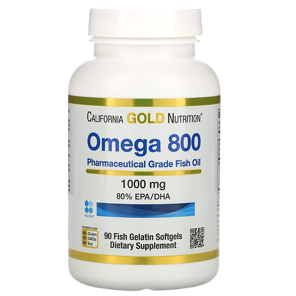 California Gold Nutrition, омега800, рыбий жир фармацевтической степени чистоты, 80% ЭПК/ДГК, в форме триглицеридов, 1000мг, 90рыбно-желатиновых капсул