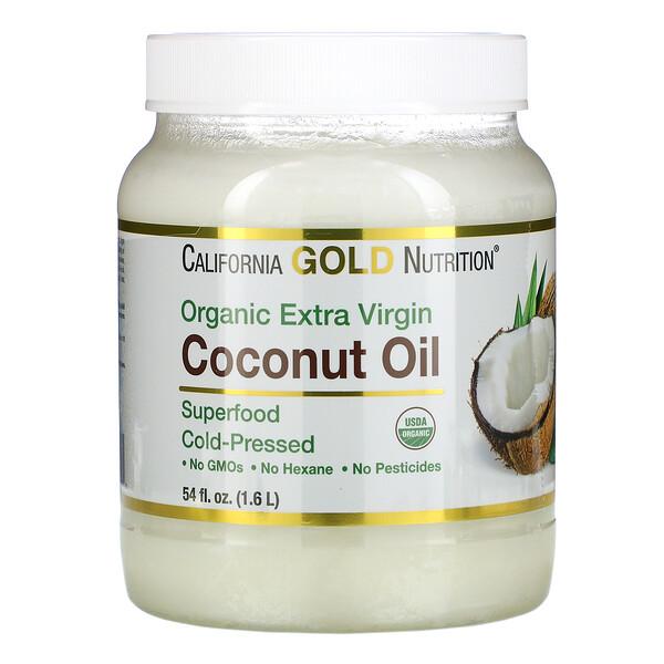 Органическое кокосовое масло первого холодного отжима, 1,6л (54жидк.унции)