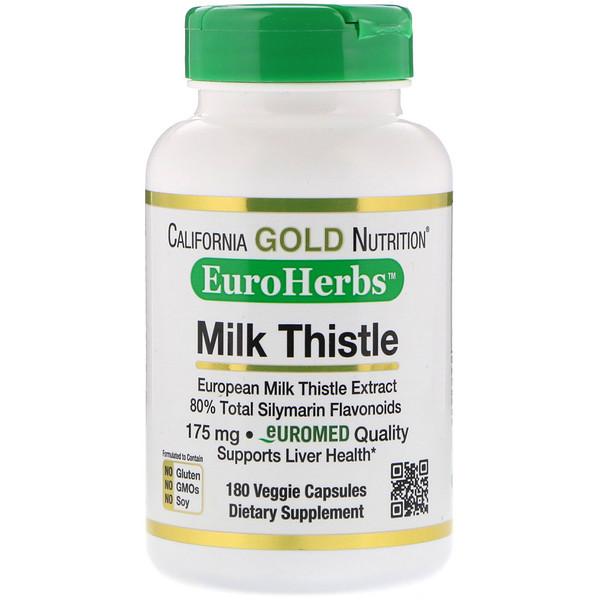California Gold Nutrition, Экстракт расторопши, 80% силимарина, EuroHerbs, 180 вегетарианских капсул